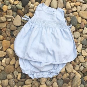 2 piece set Blue Tie Top with Ruffle Bloomers